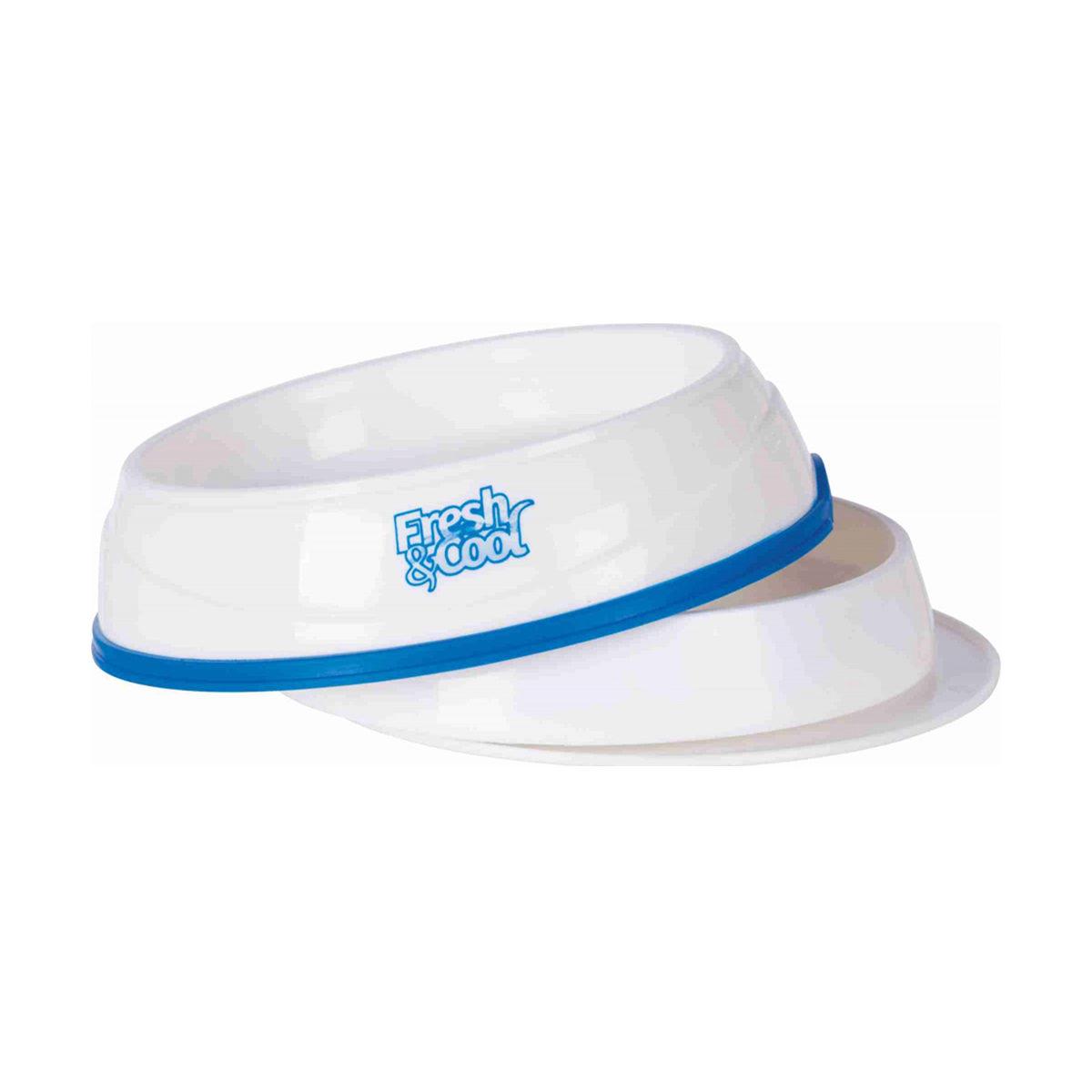 Verkoelende Voer- en waterbak Fresh & Cool 0,25L Wit-Blauw