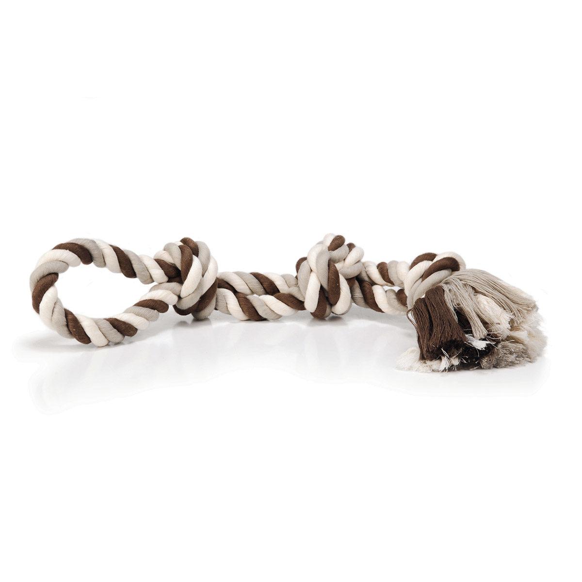 Beeztees Flostouw 2 Knopen Hondenspeelgoed 600gr Gekleurd-Bruin