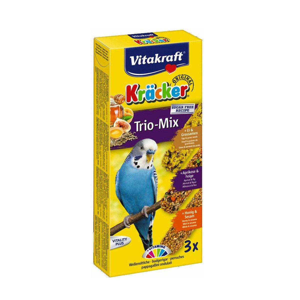Vitakraft Trio Mix Kräcker Vogelsnack Parkiet 3in1 Ei-Fruit-Honing