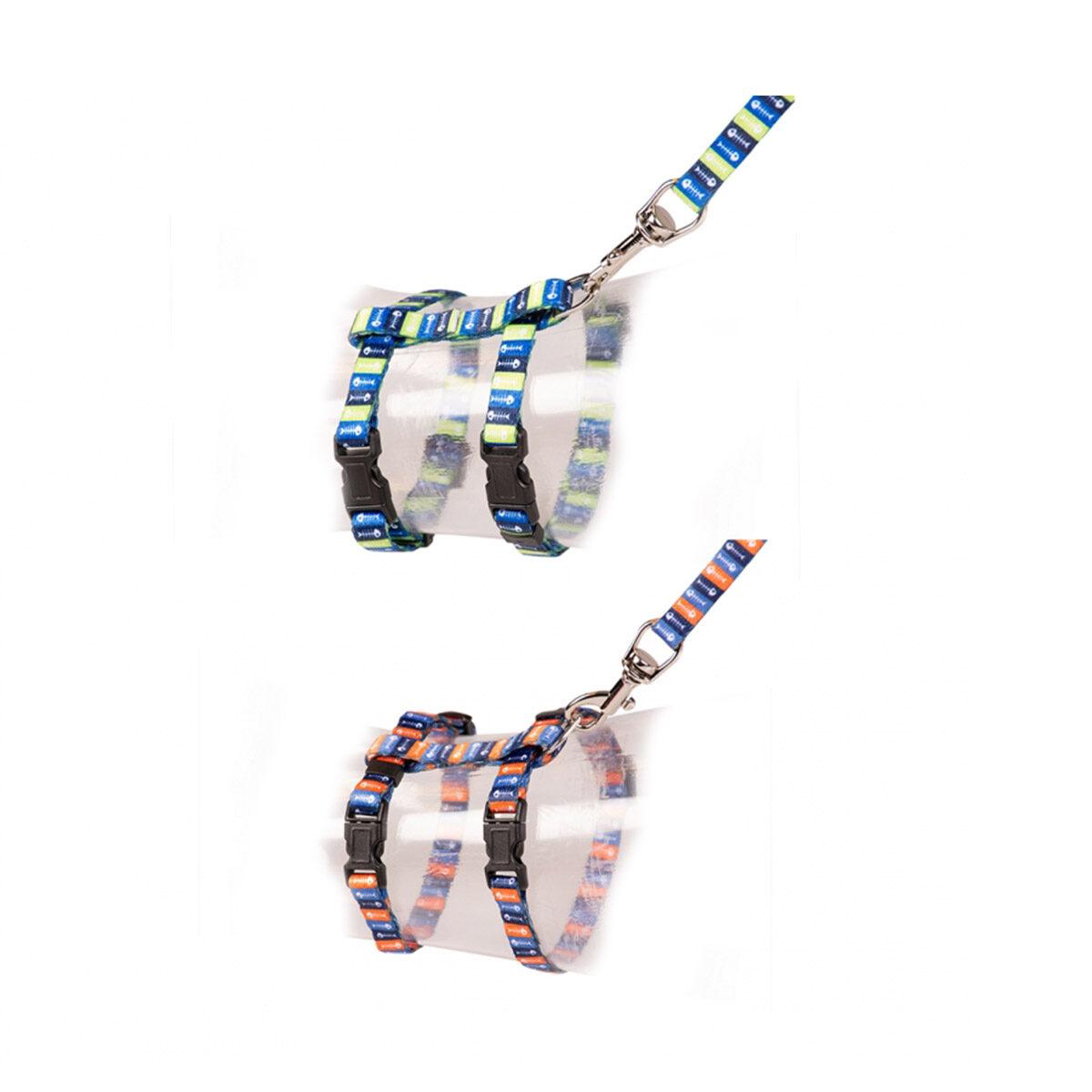 Duvo+ Kitten Wandelset Visgraat 15-25cm - 8mm-125cm Gemengde kleuren - in Tuigjes & Halsbanden