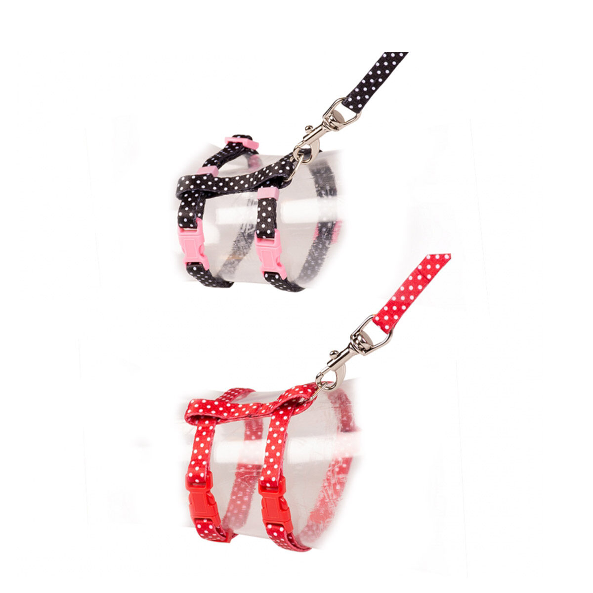 Duvo+ Kitten Wandelset Witte Bollen 15-25cm - 8mm-125cm - Zwart-Rood - in Tuigjes & Halsbanden