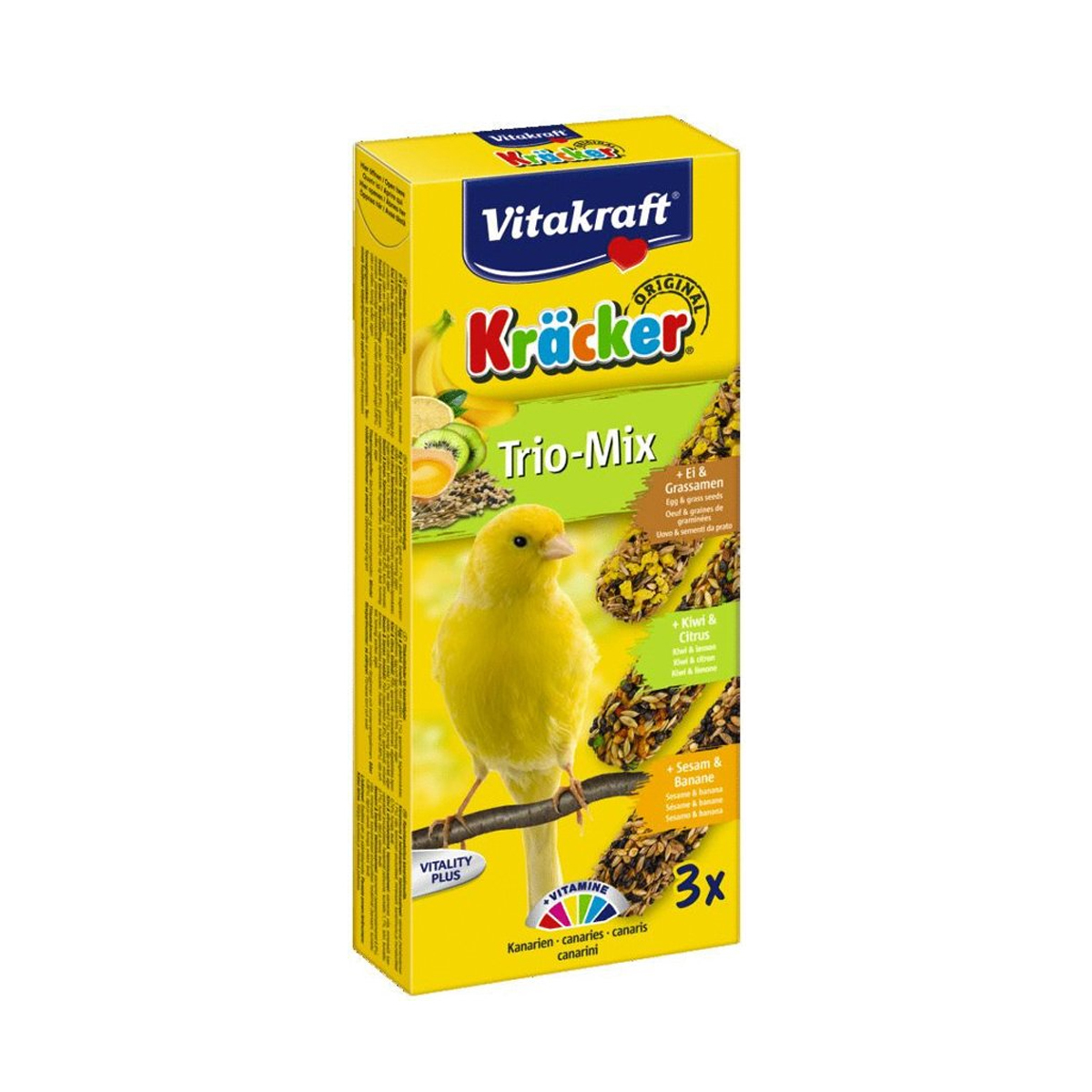 Vitakraft Trio Mix Kräcker Vogelsnack Kanarie 3in1 Orange-Sesam-Banaan-Kiwi