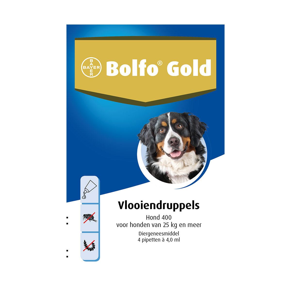 Bolfo Gold Hond 400 Vlooiendruppels 25 tot 40 kg 4 Pipetten
