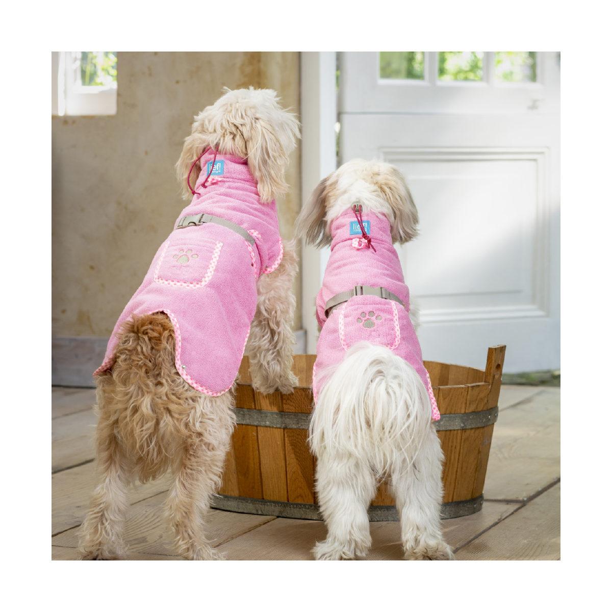 Lief! Hondenbadjas Girls XXS Roze