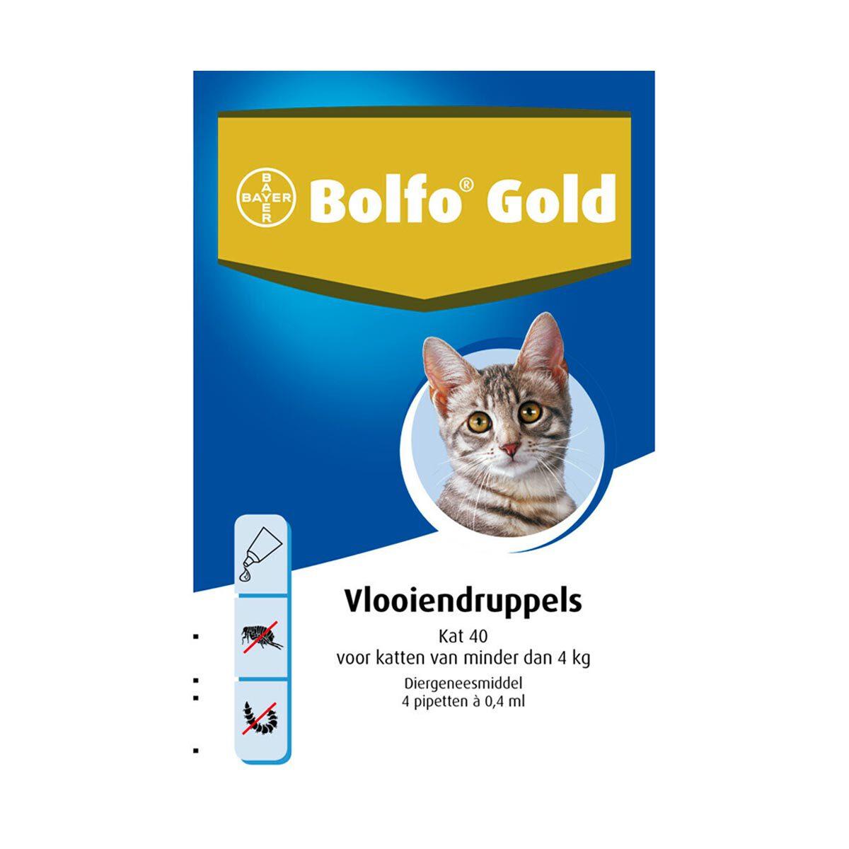 Bolfo Gold Kat 40 Vlooiendruppels van 0-4 kg 4 pipetten