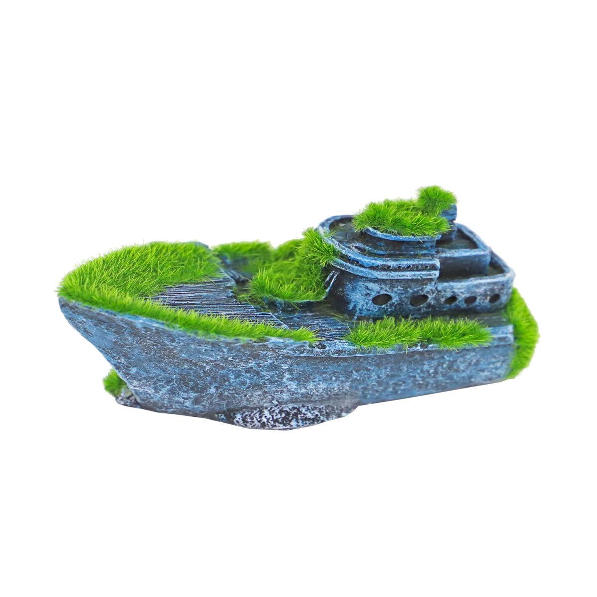 Ornament Gezonken Half Schip met Mos 13x6cm - in Decoratie