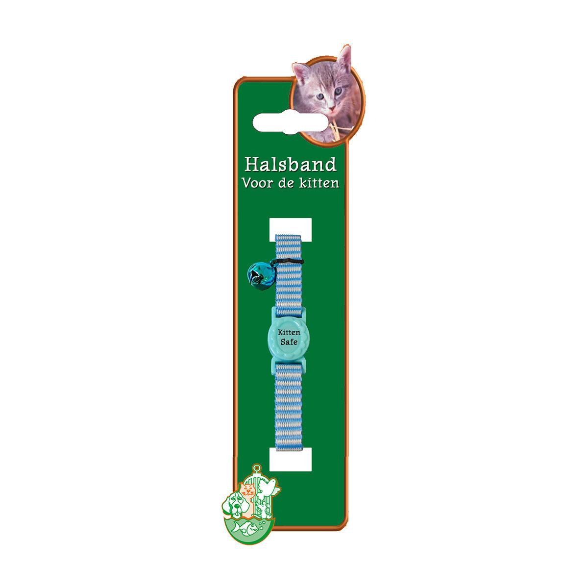 Kitten Halsband Polyester Streep Blauw - in Tuigjes & Halsbanden