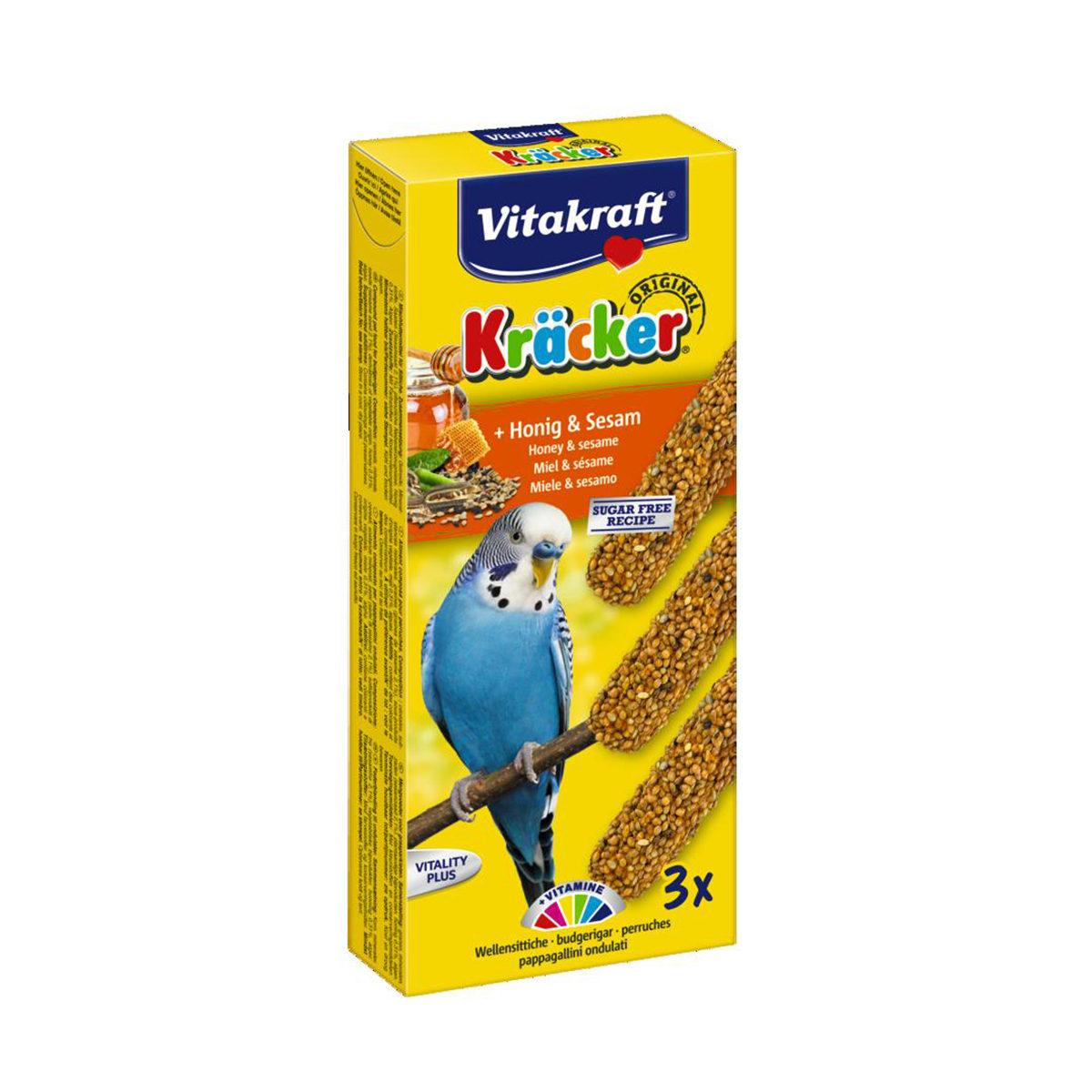 Vitakraft Trio Mix kräcker Vogelsnack Parkiet 3in1 Honing Sesam