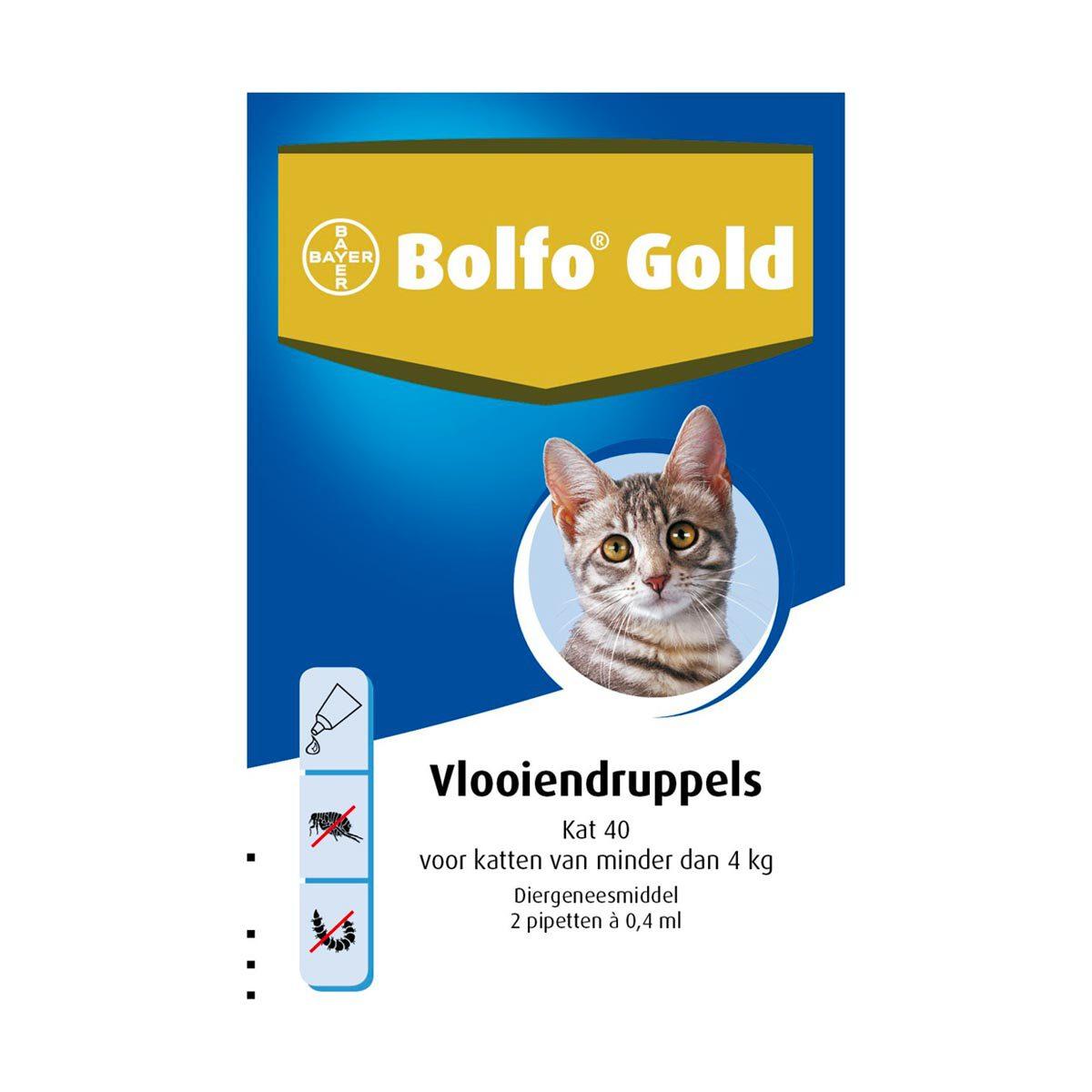 Bolfo Gold Kat 40 Vlooiendruppels van 0-4 kg 2 pipetten