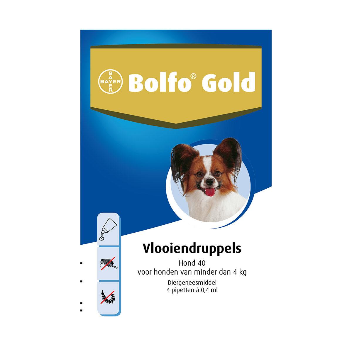 Bolfo Gold Hond 40 Vlooiendruppels tot 4 kg 4 Pipetten