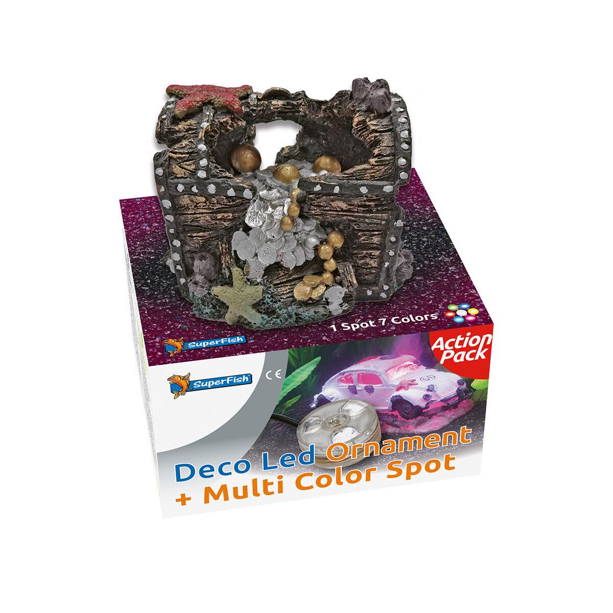SuperFish Deco LED Ornament met Multi Color Spot Schatkist - in Decoratie