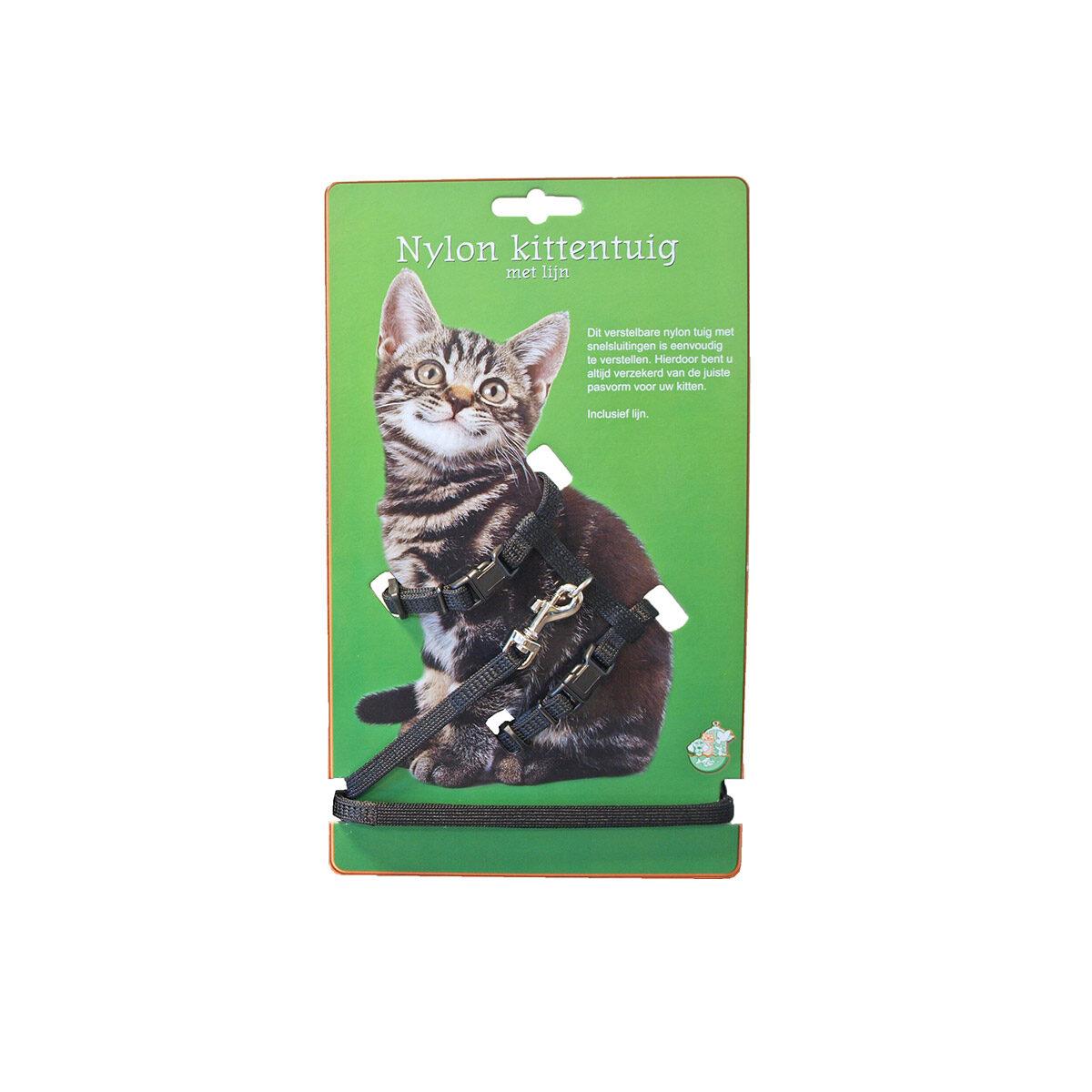 Kittentuig Nylon Met Lijn Zwart - in Tuigjes & Halsbanden