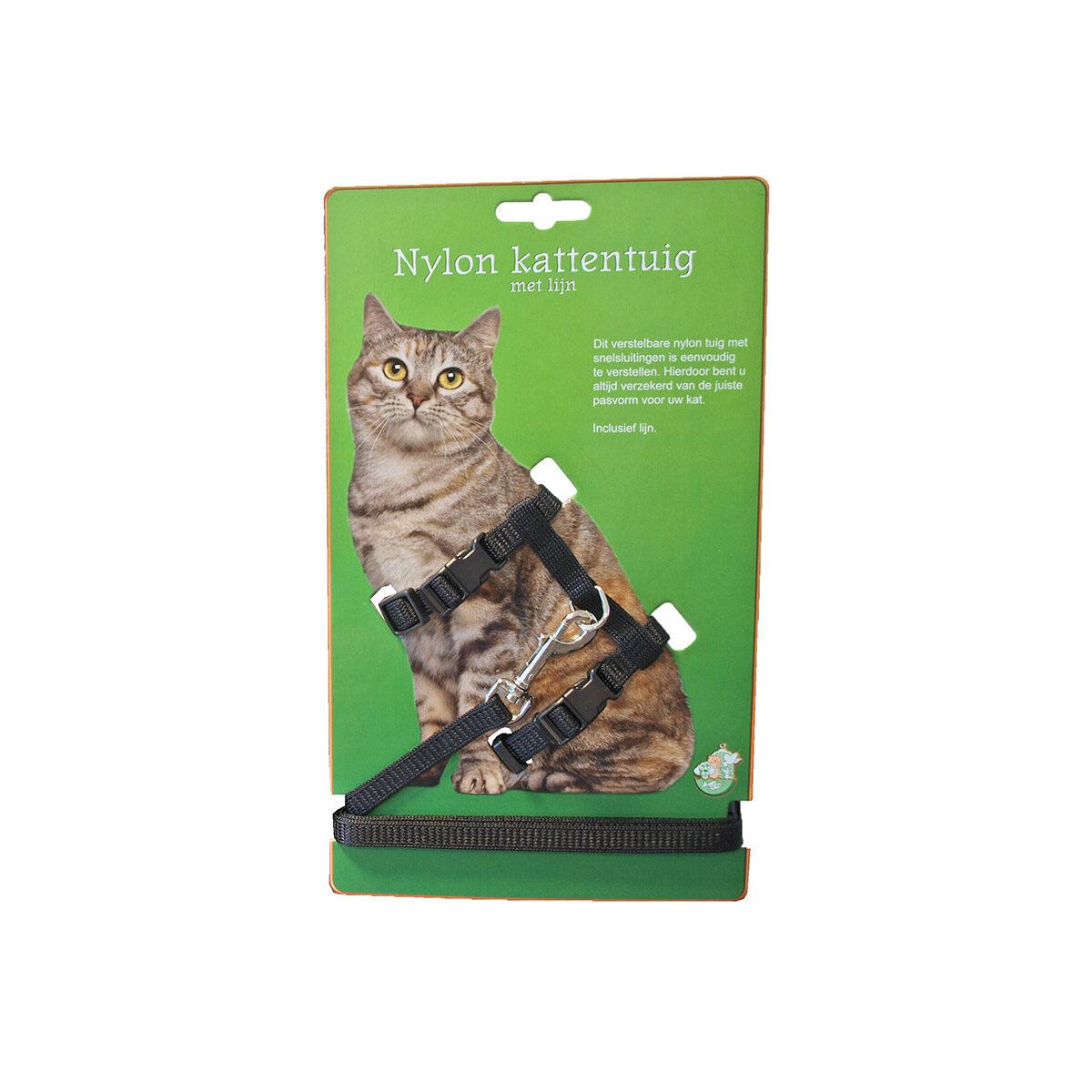 Kattentuig Nylon Met Lijn Zwart - in Tuigjes & Halsbanden
