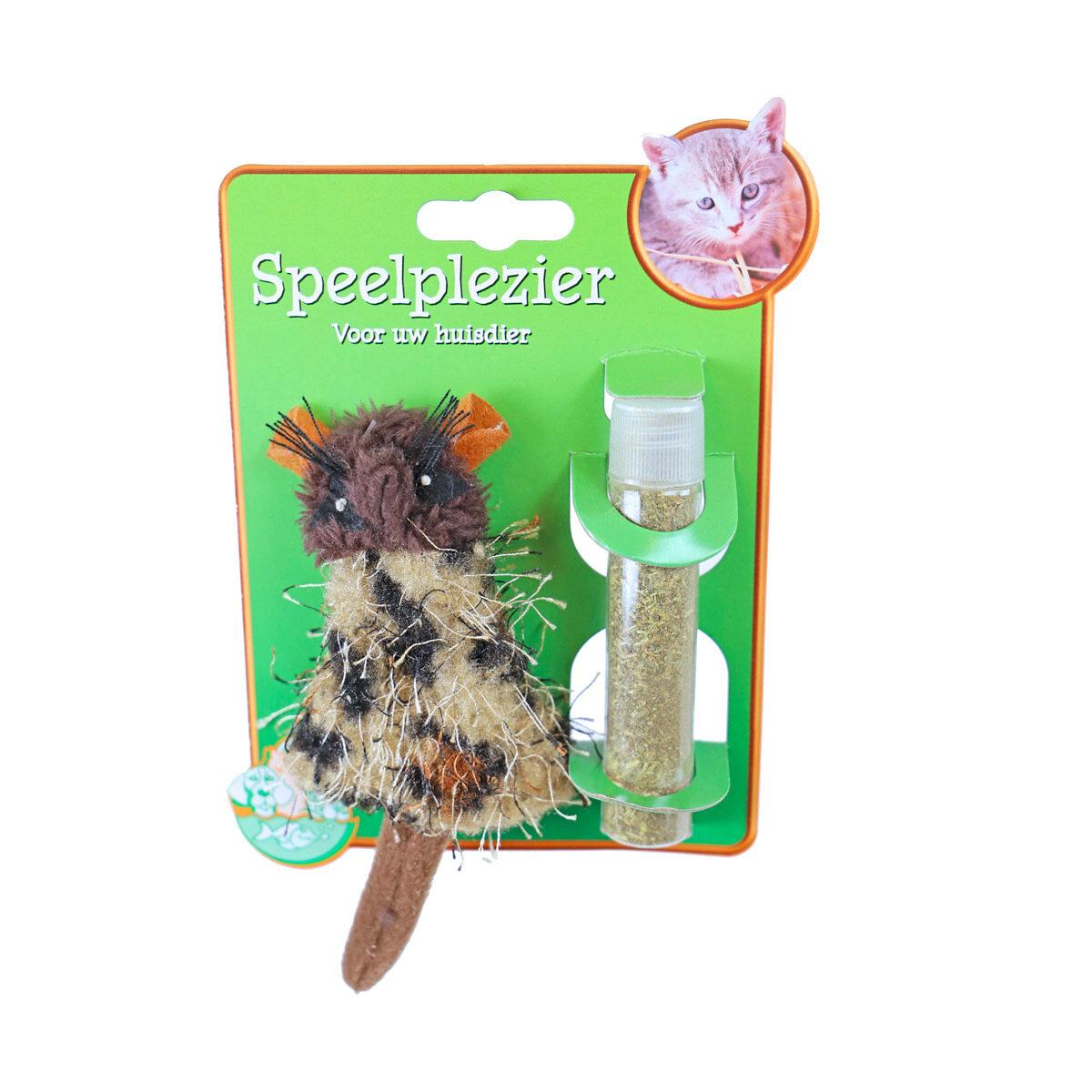 Catnip Kattenspeeltje Hervulbaar Muis Bruin 15 cm - in Speelgoed