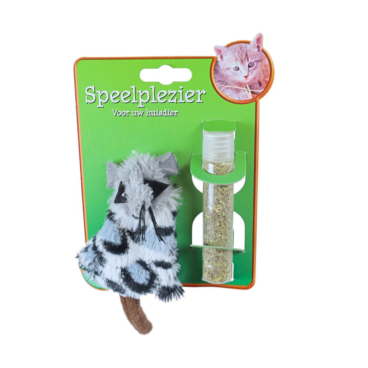Catnip Kattenspeeltje Hervulbaar Muis Grijs 15 cm - in Speelgoed