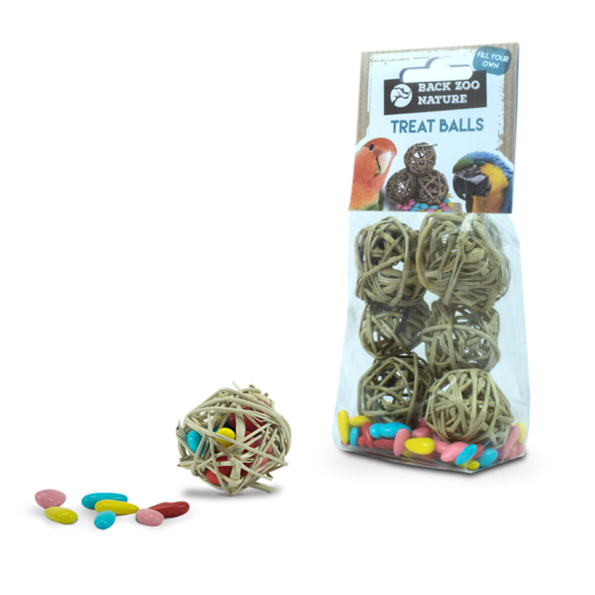 Back Zoo Nature Treat Ball Met Snoepjes Vogelsnack 6 stuks