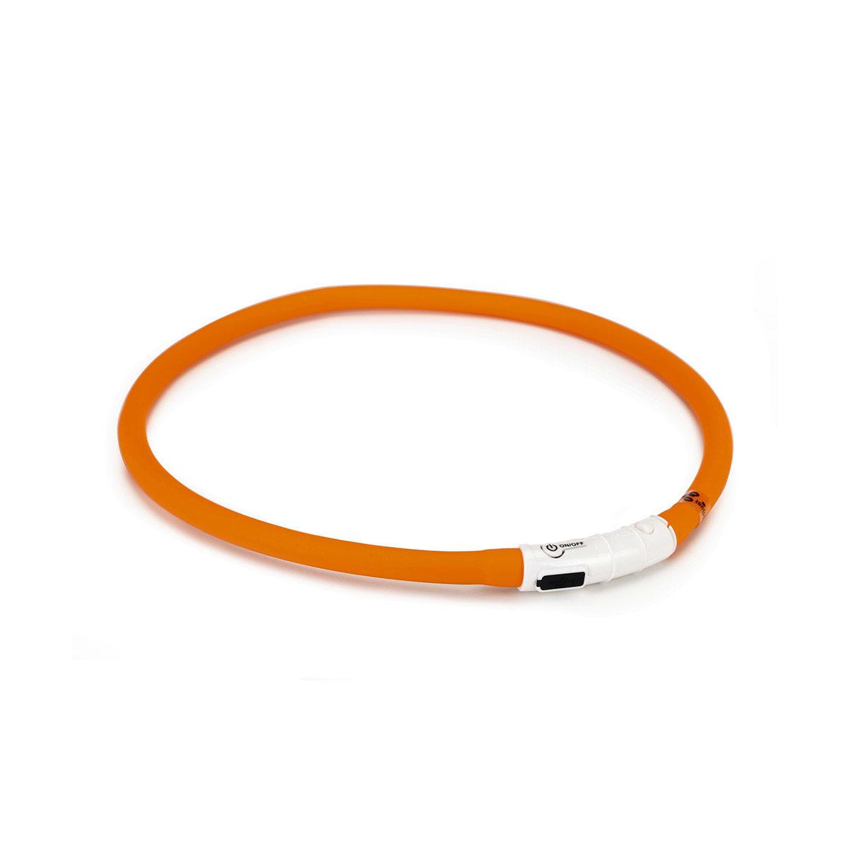 Beeztees LED Lichtgevende Veiligheidshalsband siliconen 70 cm x 10 mm Oranje