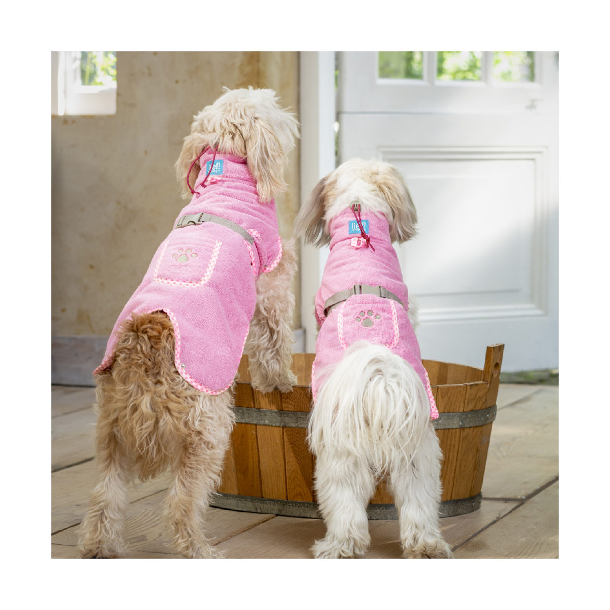 Lief! Hondenbadjas Girls L Roze